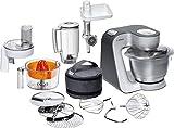 Bosch MUM5 Styline Küchenmaschine MUM56340, vielseitig einsetzbar, große Edelstahl-Schüssel (3,9l), Durchlaufschnitzler, Mixer,...