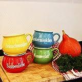 Keramik Suppentassen 4er-Set Tasse Schüssel Suppenteller Schüsselset Suppentasse