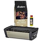 Enders Aurora Starterset Taupe - Raucharmer Tisch Grill im Set mit Holzkohle und Anzündpaste - mobiler Holzkohle-Grill, rauchfrei, für...