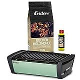 Enders Aurora Starterset Mint - Raucharmer Tisch Grill im Set mit Holzkohle und Anzündpaste - mobiler Holzkohle-Grill, rauchfrei, für...
