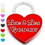 Liebesschloss Herzschloss graviert liebes schloss rot mit Gravur und 2 Schlüssel Organzabeutel liebeschloss herzform Jahrestag Valentinstag...