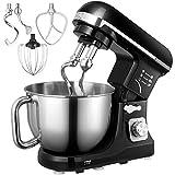 Küchenmaschine, Aicok 5L Weniges Geräusch Knetmaschine mit Doppelten Knethaken, Rührbesen, Knethaken, Schlagbesen, Spritzschutz, 6...