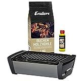 Enders Aurora Starterset Grau - Raucharmer Tisch Grill im Set mit Holzkohle und Anzündpaste - mobiler Holzkohle-Grill, rauchfrei, für...