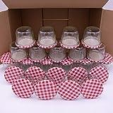 flaschenbauer.de 24er Set Sturzgläser 230 ml inkl. rot Karierte Twist Off Deckel TO82 zum Einmachen von Suppen, Babynahrung, Dips oder zur...