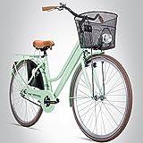 Bergsteiger Amsterdam 28 Zoll Damenfahrrad, ab 150 cm, Korb, Fahrrad-Licht, Damen-Citybike mit Rücktrittbremse, Hollandrad im Retro-Design