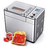 CalmDo Brotbackautomat aus Edelstahl, Automatik Toaster mit 15 Menüoptionen, 500g-1000g Brotgewicht, hausgemachtes Sandwich, Kuchen,...