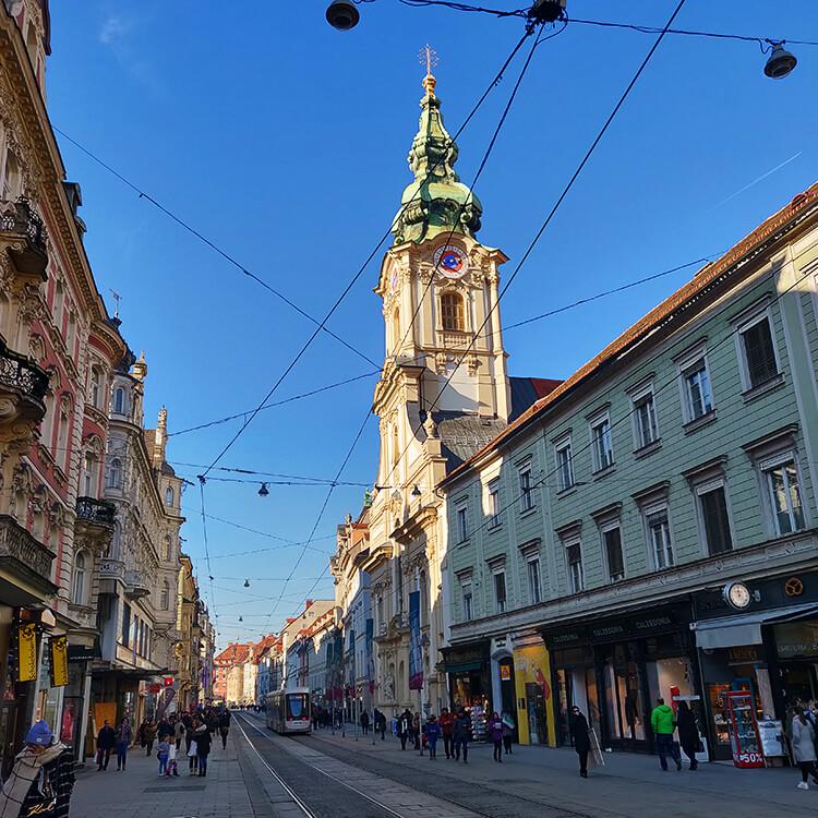 Herrengasse Graz - Blick vom Eisernen Tor Richtung Hauptplatz