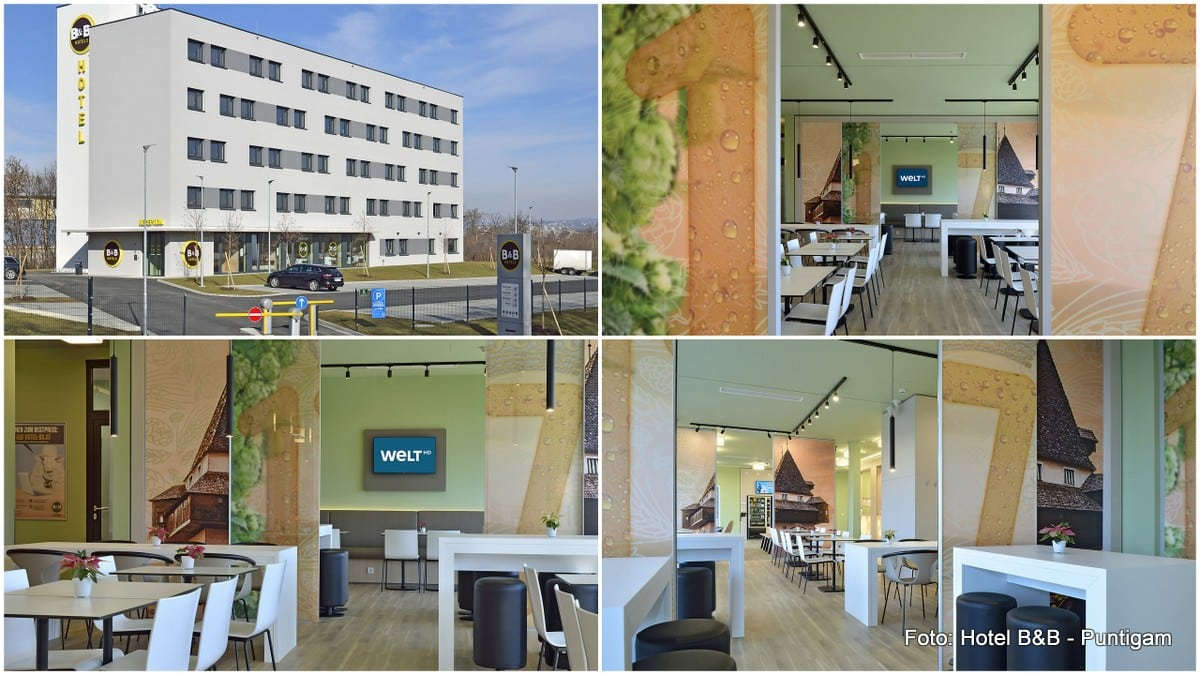 Der Frühstücksraum und eine Außenansicht der Hotel B&B in Graz Puntigam