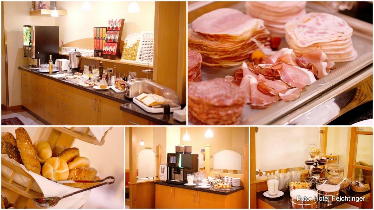 Buffetfrühstück im Hotel Feichtinger mit Kaffee, Wurst und Schinken, Gebäck
