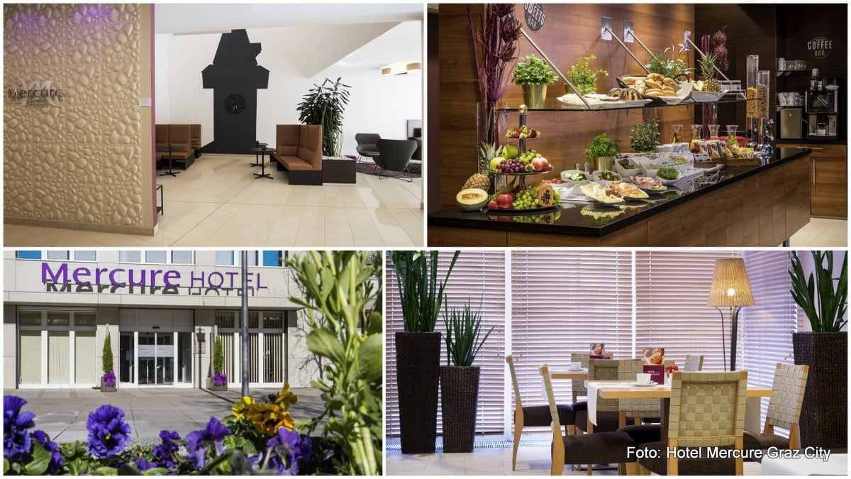 Frühstücksraum, Frühstücksbuffet und Außenansicht der Hotel Mercure Graz City