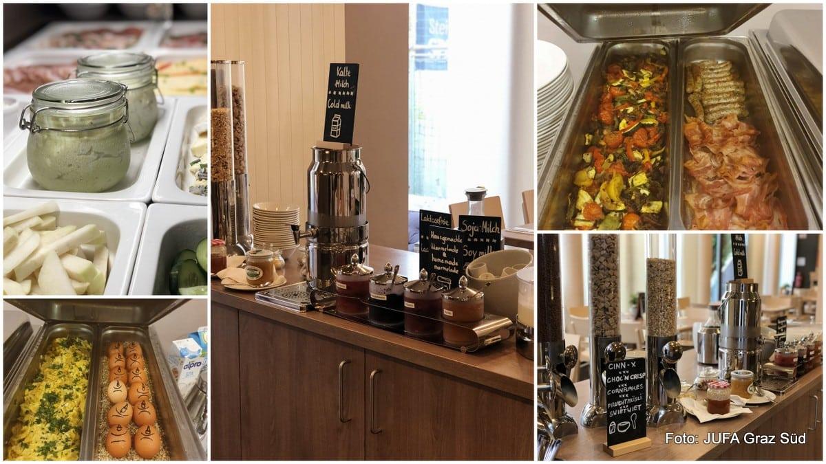Frühstücksbuffet des JUFA Graz Süd mit Eigerichten, Aufstrichen, Gemüse, Speck, Müsli und Kaffee