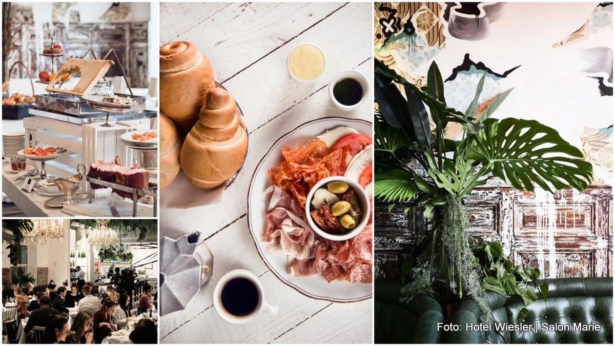 Frühstücksbuffet mit Schinken, Honig, und Innenansicht der Salon Marie im Grazer Hotel Wiesler