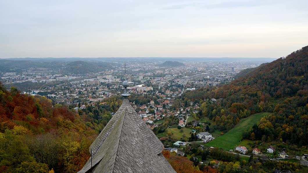 Aussicht vom Bergfried der Burgruine Gösting